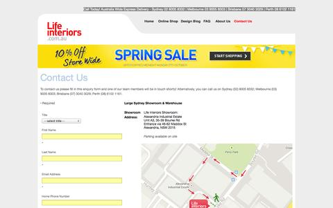 Screenshot of Landing Page lifeinteriors.com.au - Questions about our modern home or office furniture, Contact Us - captured Oct. 27, 2014