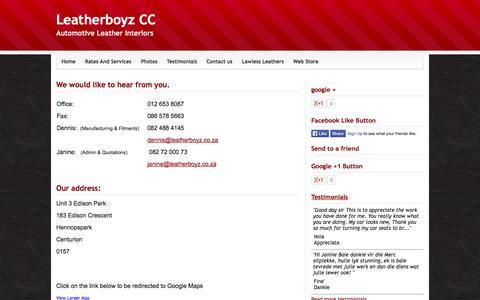 Screenshot of Contact Page webs.com - Contact us - Leatherboyz CC - captured Sept. 13, 2014