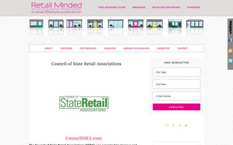 Screenshot of retailminded.com - Council of State Retail Associations - captured March 29, 2017