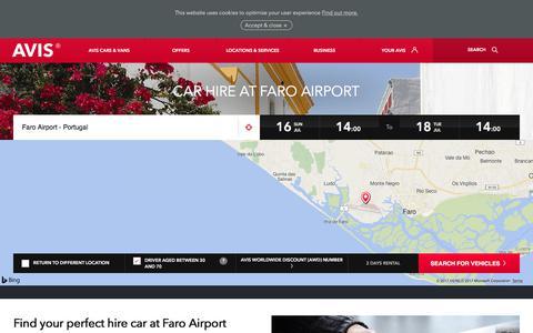 Screenshot of avis.co.uk - Car hire at Faro Airport from Avis premium car rentals - Avis Office - captured July 16, 2017