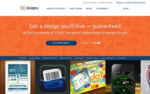 Screenshot of Home Page 99designs.com - Logo Design, Web Design and More. | 99designs - captured July 11, 2014