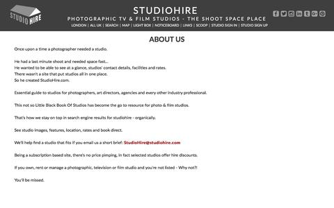 Screenshot of About Page studiohire.com - STUDIOHIRE - About Us - captured July 9, 2018