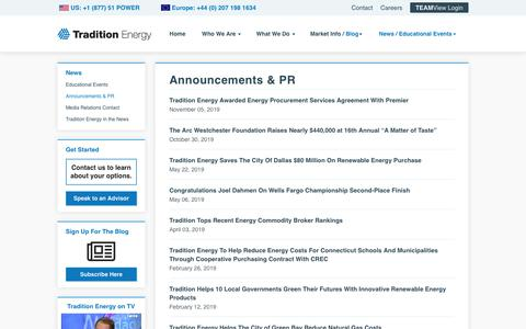 Screenshot of Press Page traditionenergy.com - Tradition Energy Press Releases and Company News - captured Nov. 9, 2019