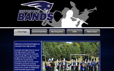 Screenshot of Home Page champlinparkbands.org - Champlin Park Bands - captured Oct. 17, 2015