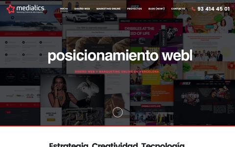 Screenshot of Home Page mediatics.com - Dise–o Web Barcelona | Mediatics, Empresa de Dise–o Web Barcelona y Marketing Online. - captured Jan. 9, 2016