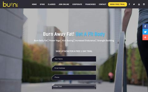 Screenshot of Trial Page burngym.com - Free Trial - captured Oct. 11, 2017