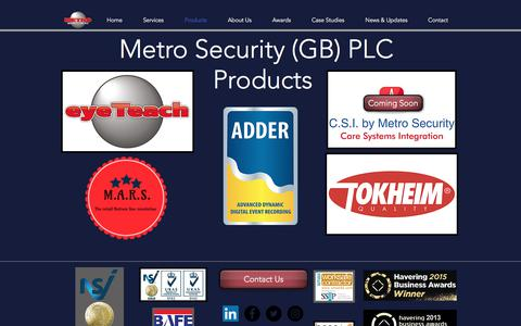 Screenshot of Products Page metrosecurity.co.uk - Products | UK | Metro Security (GB) Plc - captured Oct. 18, 2017