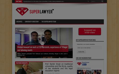 Screenshot of Home Page superlawyer.in - SuperLawyer | Curating career insights for lawyers and law students, one interview at a time - captured Sept. 23, 2014