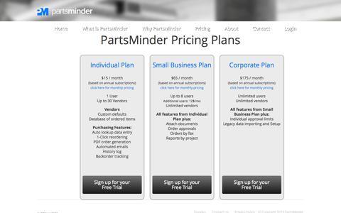 Screenshot of Pricing Page partsminder.com - Pricing - captured Sept. 30, 2014