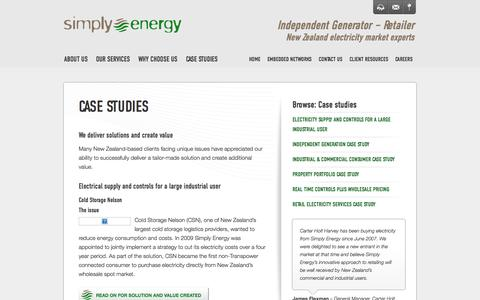 Screenshot of Case Studies Page simplyenergy.co.nz - » Case studies - captured Oct. 7, 2014