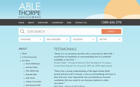 Screenshot of Testimonials Page ablethorpe.com - Testimonials | Private Practice and In-House | Ablethorpe Recruitment - captured Nov. 20, 2016