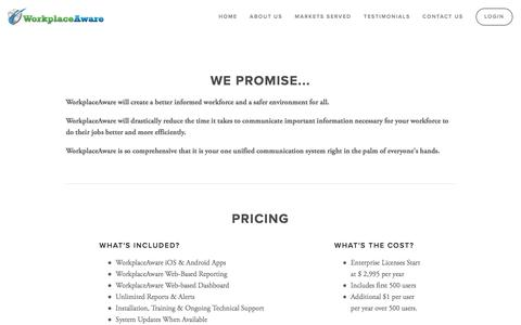 Screenshot of Pricing Page workplaceaware.com - WorkplaceAware - Pricing - captured Sept. 27, 2016