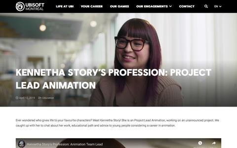 Screenshot of Team Page ubisoft.com - Kennetha Story's Profession: Project Lead Animation - Ubisoft Montréal - captured Nov. 8, 2019