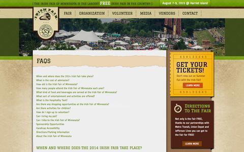 Screenshot of FAQ Page irishfair.com - FAQs | Irish Fair of Minnesota - captured Oct. 6, 2014