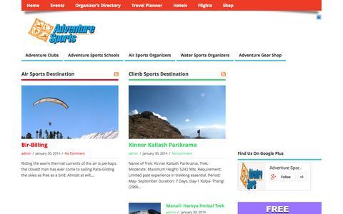Screenshot of Home Page adventuresport.in - Adventure Sports India :: Online Adventure Directory - captured Oct. 4, 2014