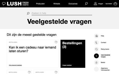 Screenshot of FAQ Page lush.com - Dit zijn de meest gestelde vragen | Lush Nederland - captured Nov. 7, 2018