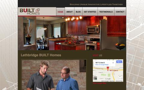 Screenshot of Home Page builthomes.ca - Lethbridge Home Builders  |  Built Homes Lethbridge - captured Sept. 30, 2014