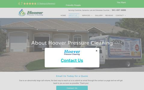 Screenshot of About Page hooverpressure.com - About Hoover Pressure Cleaning North Port Pressure Washers - captured Dec. 15, 2018