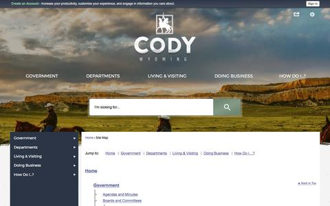 Screenshot of Site Map Page cityofcody-wy.gov - Cody, WY - captured Aug. 1, 2017