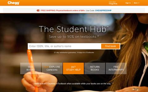 Screenshot of Home Page chegg.com - Chegg - Save up to 90% on Textbooks | #1 in Textbook Rental! - captured July 10, 2014
