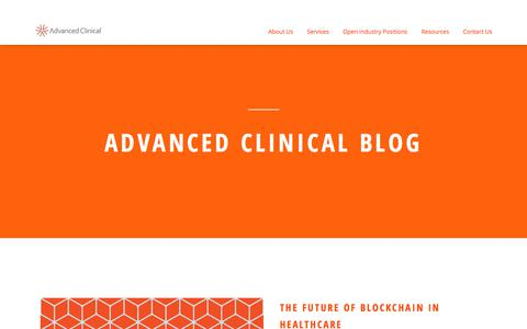 Screenshot of Blog advancedclinical.com - A clinical research industry blog. - captured Sept. 13, 2018