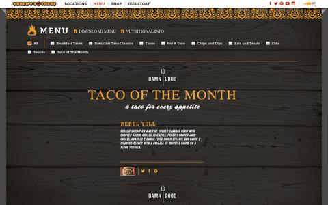 Screenshot of Menu Page torchystacos.com - Menu | Torchy's Tacos - captured Sept. 21, 2018