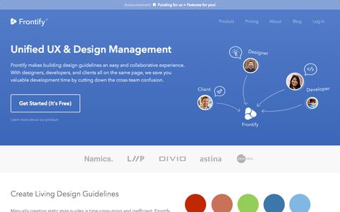 Screenshot of Home Page frontify.com - Frontify - Unified Design Management - captured Sept. 16, 2014
