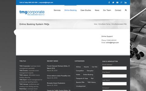 Screenshot of FAQ Page tmgcorporate.com - Online Booking System FAQs - TMG Corporate - captured April 21, 2016