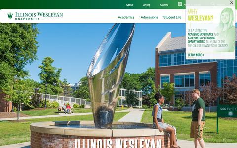 Screenshot of About Page iwu.edu - Illinois Wesleyan: Illinois Wesleyan University -- Bloomington, IL - captured Jan. 21, 2019