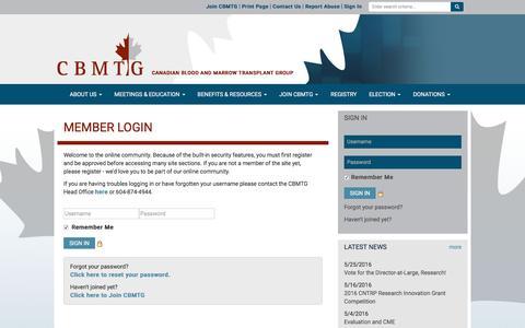 Screenshot of Login Page cbmtg.org - CBMTG - captured June 11, 2016