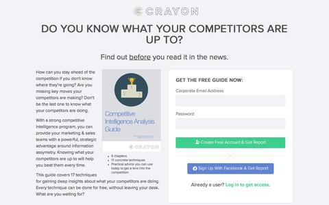Screenshot of Landing Page crayon.co - Crayon Competitive Intelligence Analysis Guide - captured Aug. 16, 2016