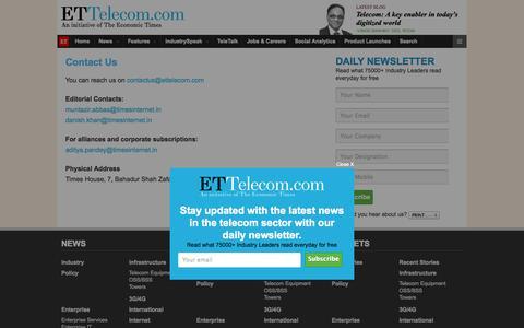 Screenshot of Contact Page indiatimes.com - Contact Us : ET Telecom - captured Sept. 19, 2014