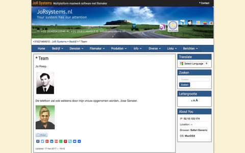Screenshot of Team Page jorsystems.nl - * Team | JoR Systems - captured June 8, 2017