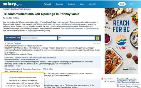 Screenshot of Jobs Page salary.com - Telecommunications Job Openings in Pennsylvania | Salary.com - captured Oct. 26, 2018