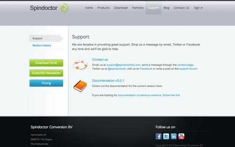 Screenshot of Support Page spindoctorhq.com - Spindoctor Behavioral Targeting for Umbraco - Support - captured Oct. 7, 2014