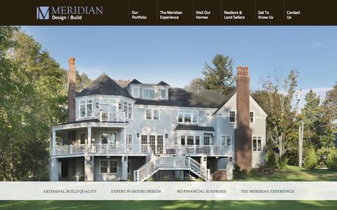Screenshot of Home Page meridiancustomhomes.com - Meridian Design Build - Building exceptional custom homes throughout Massachusetts, Rhode Island, Connecticut, and nearby islands. - captured Sept. 30, 2014