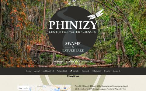 Screenshot of Maps & Directions Page phinizycenter.org - Directions - Phinizy Center for Water Sciences - captured Dec. 26, 2016