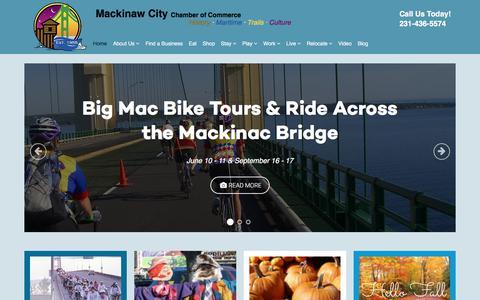 Screenshot of Home Page mackinawchamber.com - Mackinaw City Chamber of Commerce - captured Sept. 27, 2017