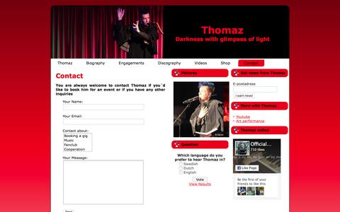 Screenshot of Contact Page thomaz.nu - Contact | Thomaz - Swedish avantgarde electrogothpop singer! - captured May 20, 2016
