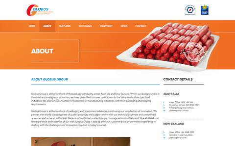 Screenshot of About Page globusgroup.com.au - About | Globus Group - Food Packaging and Equipment - captured Oct. 3, 2014