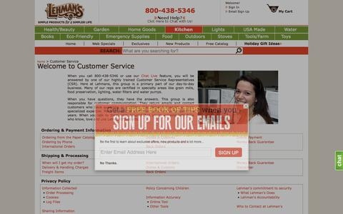 Screenshot of Support Page lehmans.com - Customer Service - captured Oct. 14, 2015