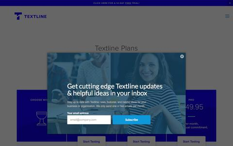 Screenshot of Pricing Page textline.com - Pricing — Textline: Business Text Messaging - captured July 7, 2018