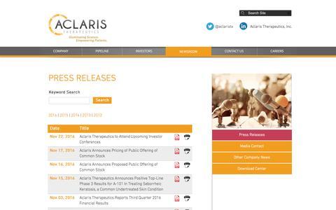 Screenshot of Press Page aclaristx.com - Press Releases | Aclaris Therapeutics - captured Dec. 6, 2016