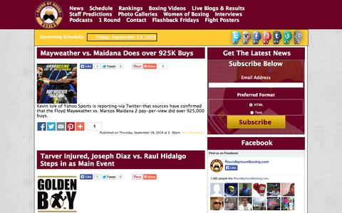 Screenshot of Press Page roundbyroundboxing.com - News | Round By Round Boxing - captured Sept. 19, 2014
