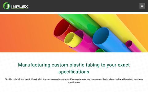 Screenshot of Products Page inplexllc.com - Custom Plastic Tubing Cut to Meet Your Specifications - Inplex Custom Extruders - captured Dec. 19, 2018