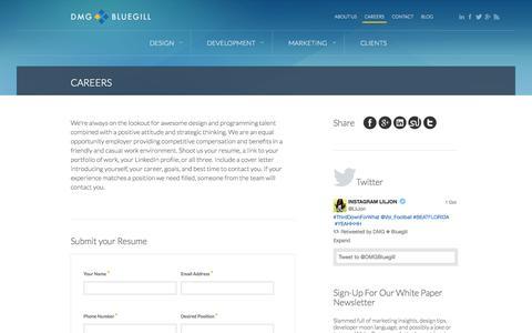 Screenshot of Jobs Page dmgbluegill.com - Careers | DMG Bluegill - captured Oct. 5, 2014