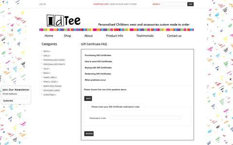 Screenshot of FAQ Page idtee.com.au - Gift Certificate FAQ : IDTEE, personalised childrens wear - captured Dec. 6, 2018