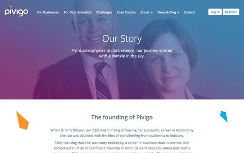 Screenshot of About Page pivigo.com - Pivigo - The Data Science Hub - captured Sept. 20, 2017