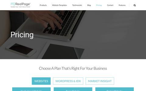 Screenshot of Pricing Page myrealpage.com - Real Estate Agent Website Pricing - IDX Website Packages | myRealPage - captured June 27, 2017