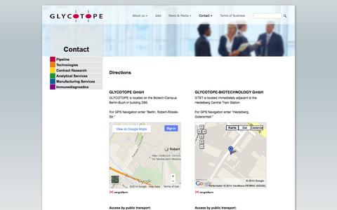 Screenshot of Maps & Directions Page glycotope.com - Directions | Glycotope Group - captured Oct. 2, 2014